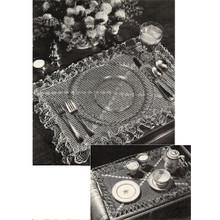 Crochet Ruffled Luncheon Set Pattern, Vintage 1950s