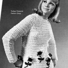 Long Sleeve Crochet Sweater Pattern, Vintage 1960s
