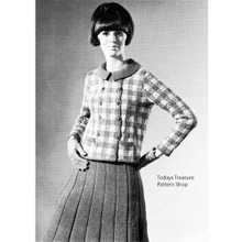 knitted plaid jacket pattern with pleated skirt