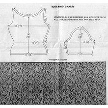 Blocking and pattern stitch illustration for vintage crocheted blouse