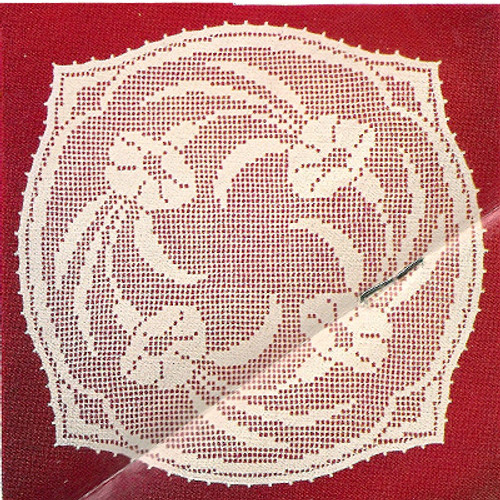 Vintage Bell Lilly Filet Crochet Doily pattern