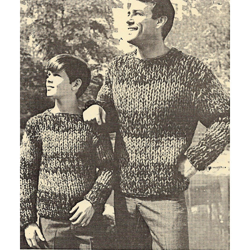 Mans Big Needle Striped Pullover Pattern