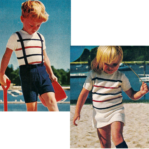 Striped Knitted Pullovers with Skirt Pants Pattern