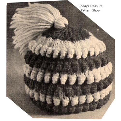 Kids Knitted Beanie Hat in Popcorn Stitch