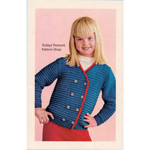 Girls Double Breasted Ribbed Jacket Knitting Pattern