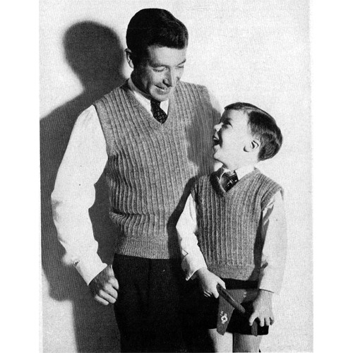 Vintage Knitted Slipon Pattern for Father Son