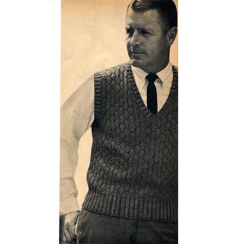 Mans Vintage Pullover Block Vest Knitting Pattern