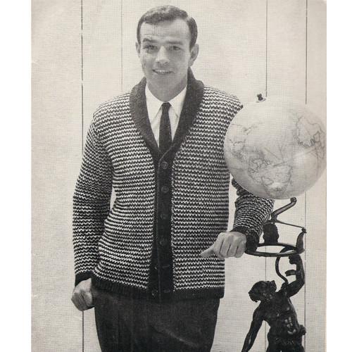 Mans Checked Cardigan Knitting Pattern, American Thread