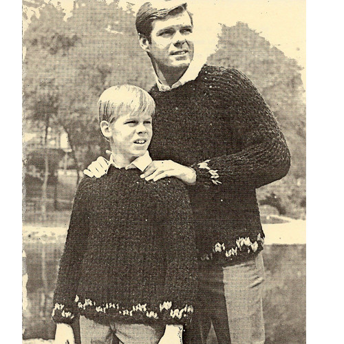 Big Needle Knitted Father Son Sweaters Pattern