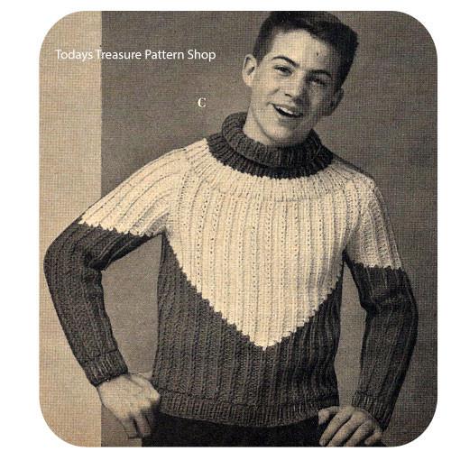 Boys Ribbed Turtleneck Knitting Pattern