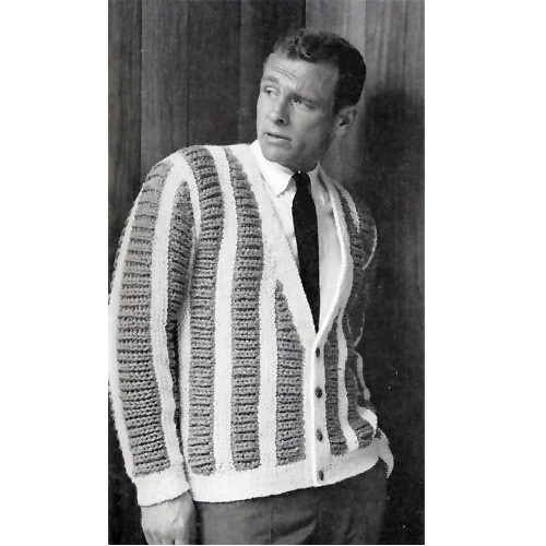 Mans Knitted Cardigan with Vertical Stripes from American Thread