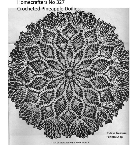 Crocheted Pineapple Doily Pattern with Ruffled Shell Border