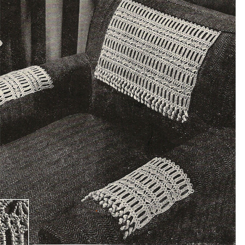 Vintage Diamond Band Crocheted Chair Set Pattern