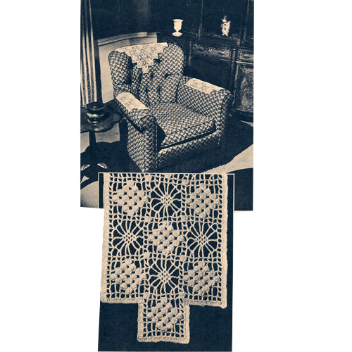 Three Piece Crochet Chair Set Pattern, Vintage 1940s