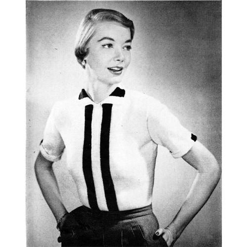 Vintage Knitted Short Sleeve Blouse pattern