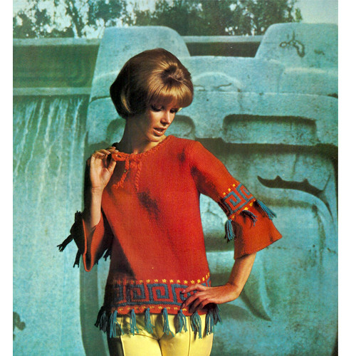 Vintage 1960s Knitted Tunic Pattern with Fringe