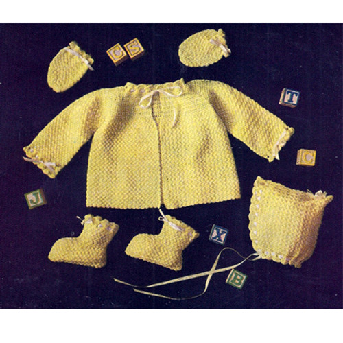 Yellow Crochet Baby Set Pattern