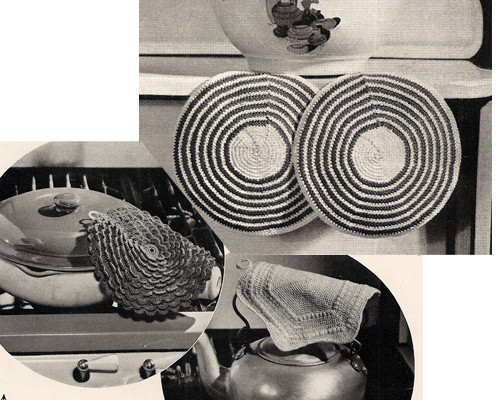 Vintage Round Crochet Potholders patterns