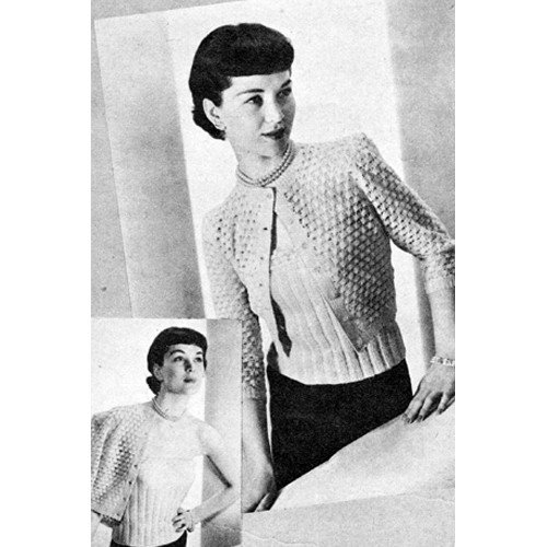 Knitted Twin Sweater Set, Cardigan & Shell Pattern