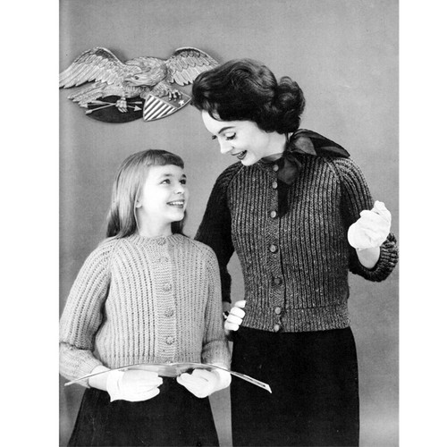 Matching Knitted Cardigans Pattern, Mother Daughter Set