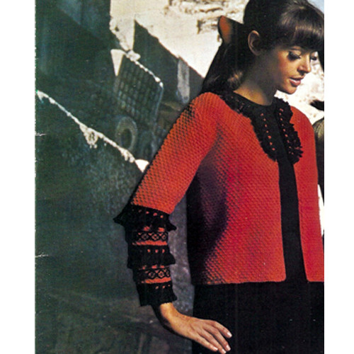 Exotic Knitted Jacket pattern with Fringed Trim