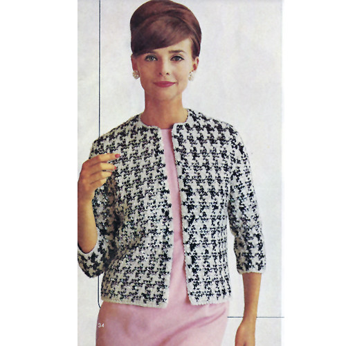 Knitted Monte Carlo Jacket Pattern, Three Quarter Sleeves