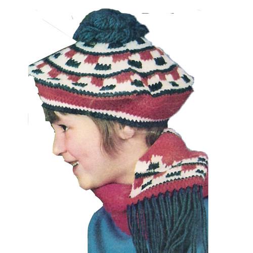 Girls Beret Crochet Pattern with Pompom top