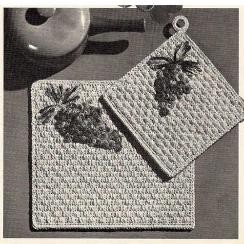 Grape Crochet Potholders Placemats Pattern