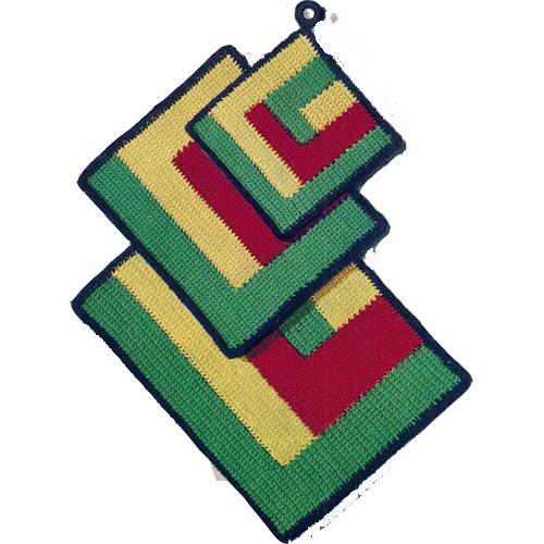 Crochet Potholders Mats Pattern in Geometric Design
