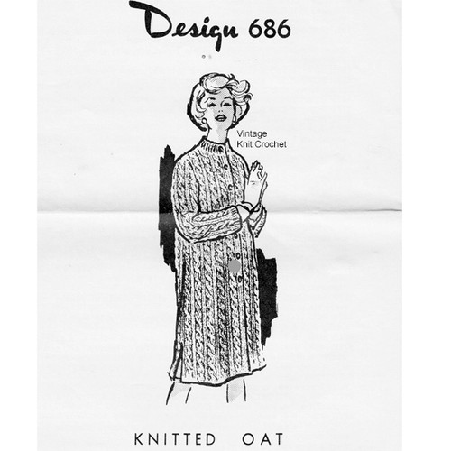 Big Needle Knitted Coat Pattern, Design 686, in Knitting Worsted
