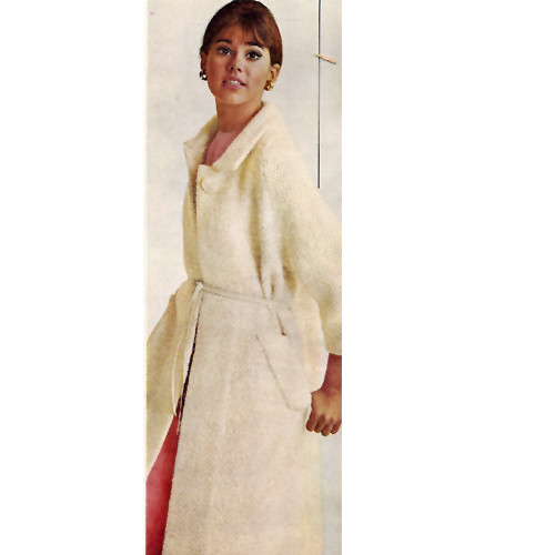 Floor Length Knitted Coat Pattern, Vintage 1960s