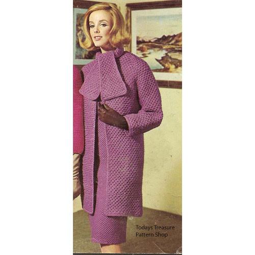 Long Crochet Coat Pattern, Vintage 1960s