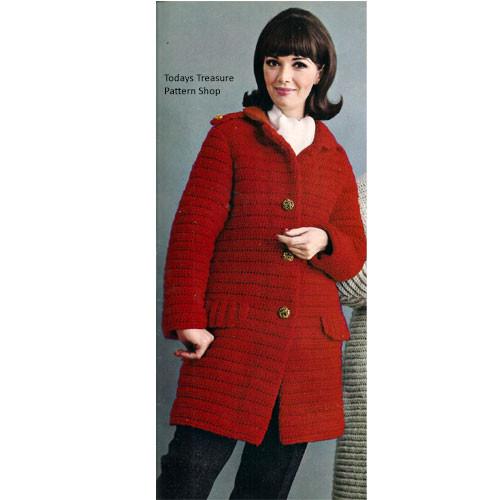 Crochet Coachman Coat Pattern, Below Hip Length