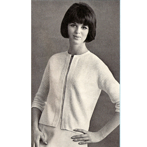 Vintage Crochet Cardigan Pattern, Short Sleeves