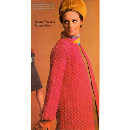 Crocheted Popcorn Stitch Coat Pattern