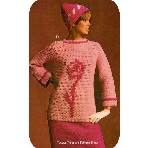 Crochet Flower Tunic Pattern with Cap