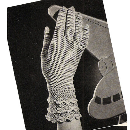 Crochet Evening Gloves Pattern with Ruffled Cuff