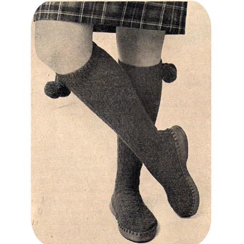 Knee Length Slippers Knitting Pattern, Vintage 1950s