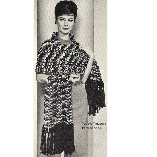 Vintage Crazy Stole Knitting Patterm