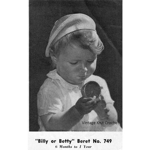 Baby Beret Knitting Pattern, Vintage 1940s
