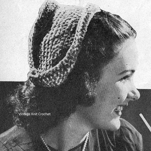 Easy Dutch Hat Crochet Pattern, Vintage 1944