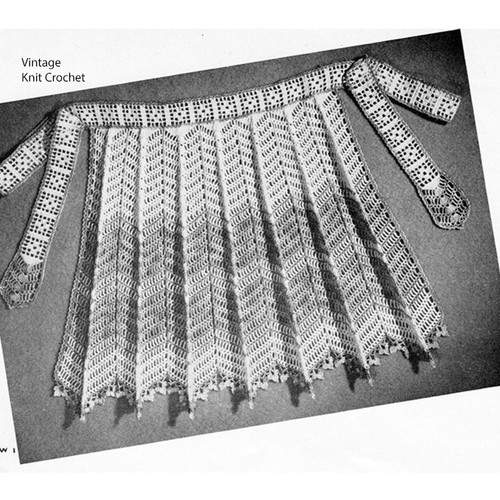 Rippled Crochet Apron Pattern, Vintage 1940s