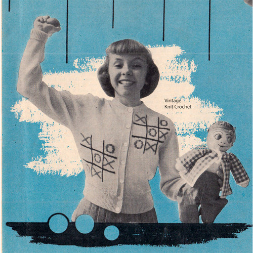 Girls Classic Knitted Cardigan Pattern, Vintage 1950s
