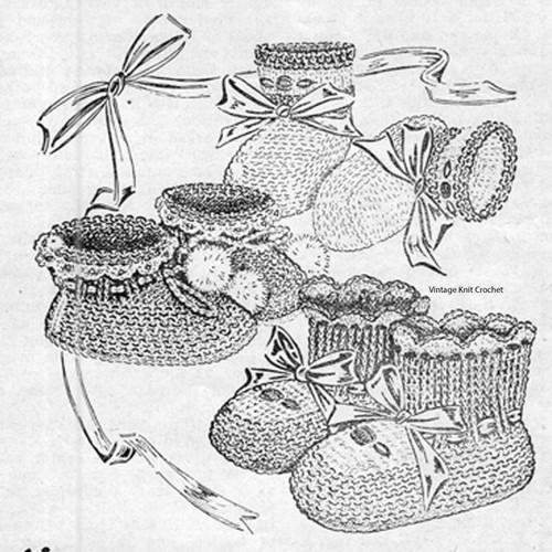 Vintage Crochet Hi-Top Baby Boots Pattern