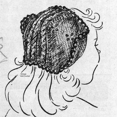 Vintage Workbasket Dutch Hat Knitting Pattern