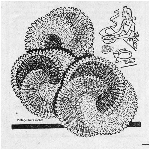 Round Scroll Crocheted Hot Dish Mats Pattern