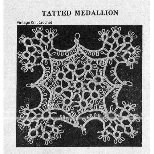 Vintage Tatted Medallion Pattern from Workbasket.