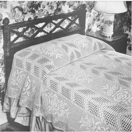 Arrow and Rose Filet Crochet Bedspread pattern