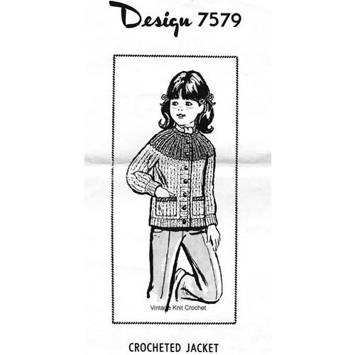 Design 7579, Girls Crocheted Jacket Pattern