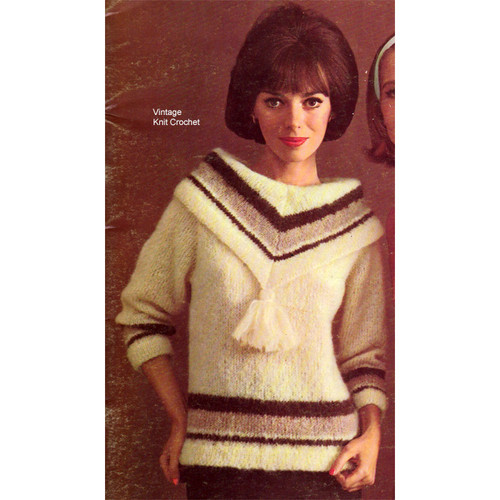 Knitted Tasseled Sweater Pattern in Mohair Spun Yarn